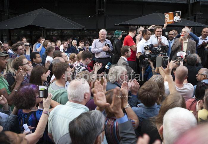 Jeremy Corbyn Rally Nottingham speaking to overflow rally outside economist Richard Murphy (l) - John Harris - 2015-08-20