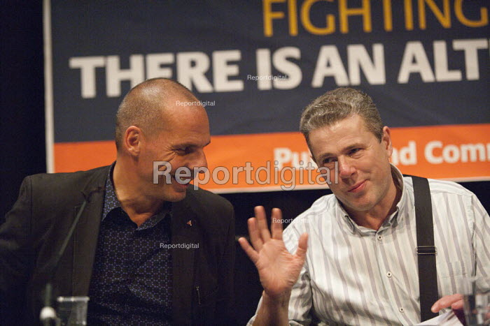 Mark Serwotka PCS Yanis Varoufakis, Economist and former Greek Finance Minister, PCS meeting FIGHTING FOR OUR FUTURE, THERE IS AN ALTERNATIVE TO AUSTERITY, TUC conference Brighton - John Harris - 2015-09-13