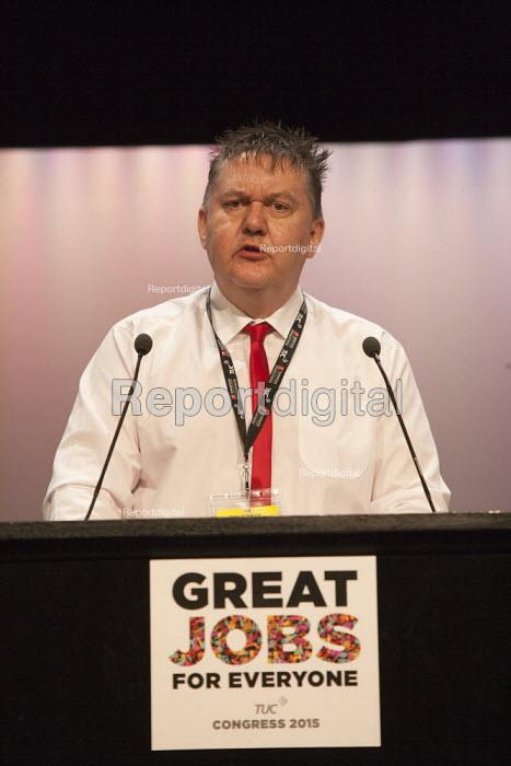 Rob Goodfellow UCU speaking TUC conference Brighton - John Harris - 2015-09-14