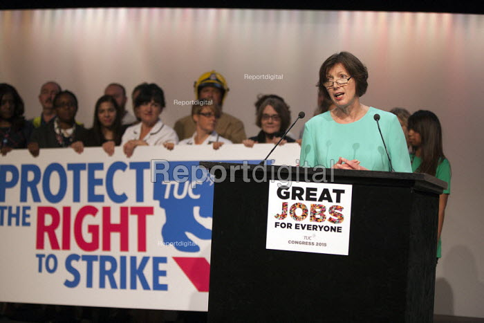 Frances O'Grady, TUC Gen Sec speaking Protect the Right to Strike TUC conference Brighton - John Harris - 2015-09-14