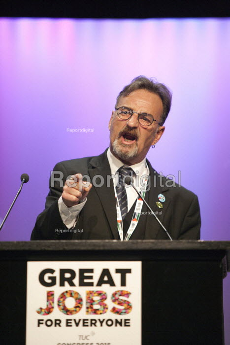 Peter Pinkney RMT speaking TUC conference Brighton - John Harris - 2015-09-15