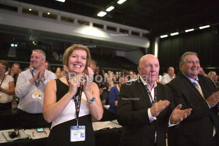 GMB delegates applauding Jeremy Corbyn MP speaking TUC conference Brighton - John Harris - 2015-09-15