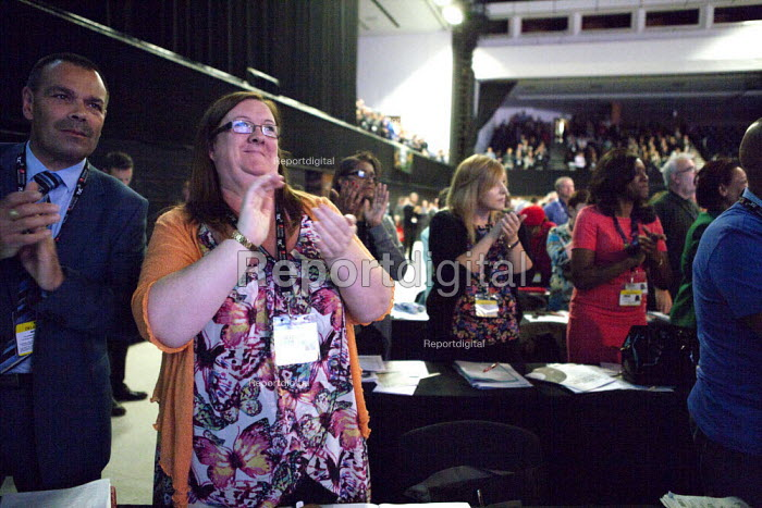 NAPO delegates applauding Jeremy Corbyn MP speaking TUC conference Brighton - John Harris - 2015-09-15
