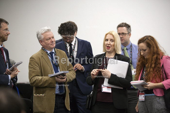 Antonia Bance Head of Media TUC speaking at a Press briefing TUC conference Brighton - John Harris - 2015-09-15