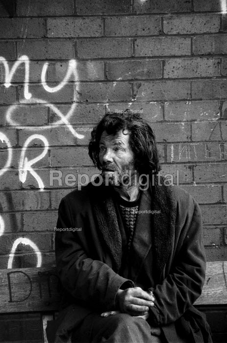 Derelict homeless alcoholic Coventry shopping precinct 1982