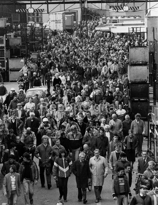 British Leyland BL car workers leaving a mass meeting at the Cowley plant Oxford during hand washing dispute - John Harris - 1983-03-04