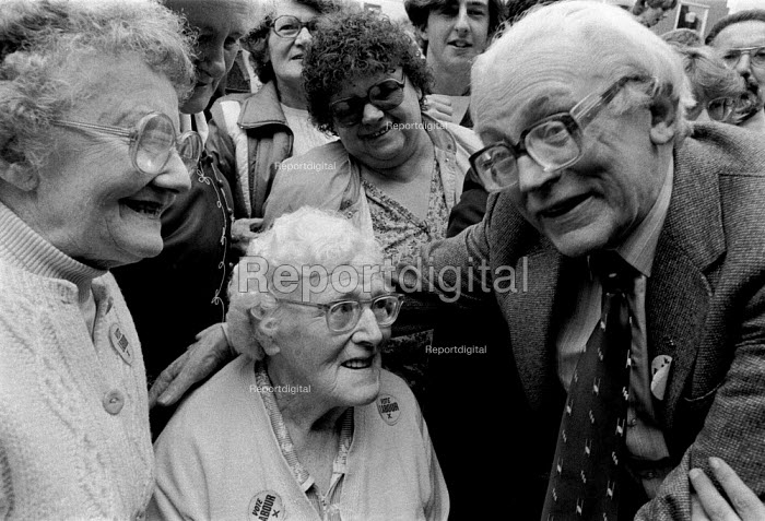 Michael Foot MP meeting Labour Party supporters and pensioners during 1983 election campaign Nuneaton - John Harris - 1983-06-09