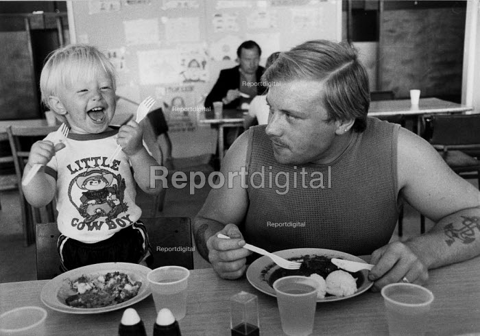 Striking miners eating in a soup kitchen funded by donations from supporters of the strike. Miners Welfare, Keresley Colliery, Coventry 1984 - John Harris - 1984-07-04