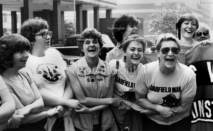 Miners wives or womens support group- laughing. Lobby of NUM annual conference Sheffield 1984 - John Harris - 1984-07-04