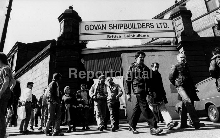 Workers leaving Govan Shipbuilders at the end of their shift Govan, Clydeside, Glasgow Scotland - John Harris - 1986-05-03