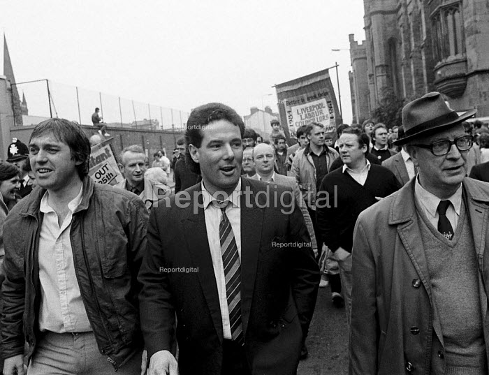 Derick Hatton deputy leader as thousands of trade union members join a demonstration in support of Liverpool Labour Council who exceeded Government limits on public expenditure, which was used by the Militant dominated local Authority to build houses, extend services, and preserve jobs. - John Harris - 1987-03-07