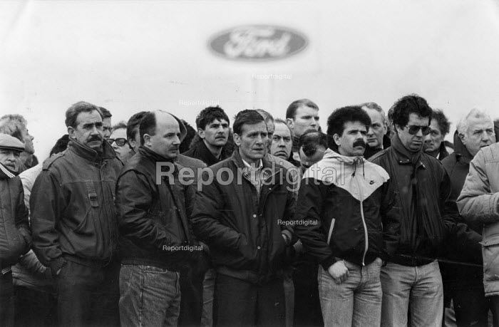 Worried Ford car workers mass meeting 1988 about the future of the factory and redundancies, Halewood Cheshire - John Harris - 1988-02-18