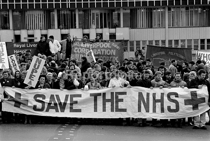 Hospital patents join with Nurses, Ancillary staff and other Health workers protest outside Liverpool Royal Hospital in a day of action in support of funding the NHS: Save the NHS 1988 - John Harris - 1988-02-10