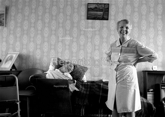 Caring for her disabled sister Balsal Heath Birmingham, Even with home help from social services it is an exacting task and the low level of welfare benefits available mean they are poor. Despite it all they still manage to make each other laugh - John Harris - 1988-05-01