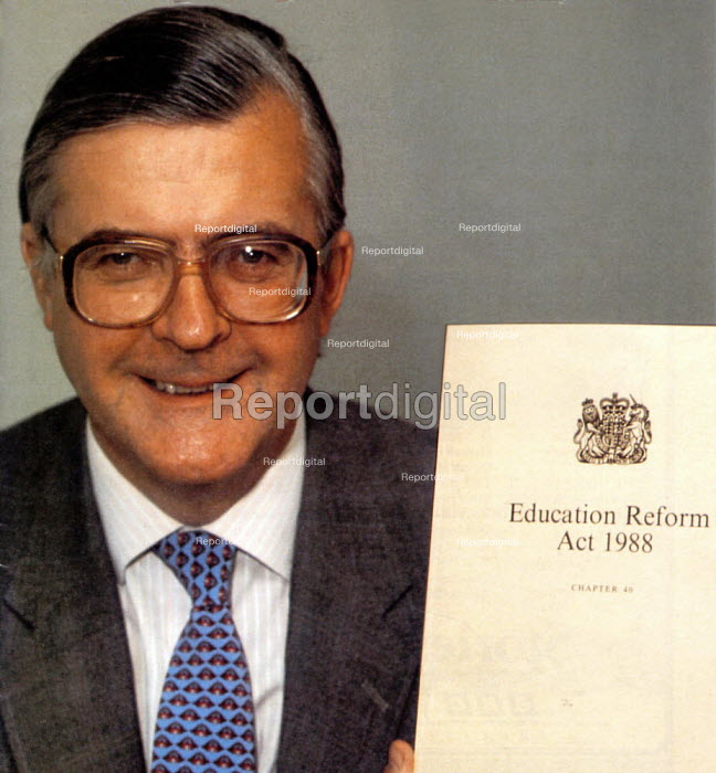 Kenneth Baker MP Secretary of State of Education with his Education Reform Act 1988 - John Harris - 1988-08-15