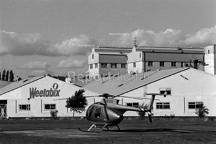Managing Director's helicopter in which he commutes to work outside the Weetabix factory Kettering Many of the employees are women who work part time and who are low paid - John Harris - 1988-09-29