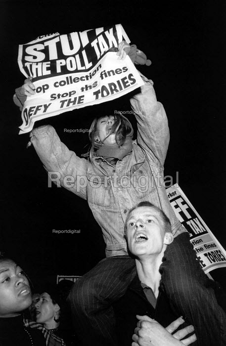 Protest against the Poll Tax or community charge Lambeth Town Hall London 1990 - John Harris - 1990-03-09