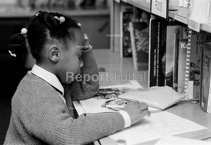Girl studying in Primary school library 2.12.91 - John Harris - 1991-12-02