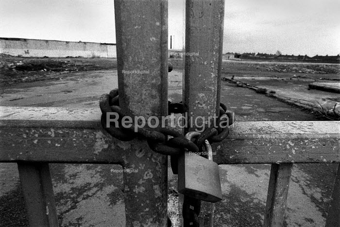 Locked factory gates, demolished Coventry Climax factory 1992 - John Harris - 1992-03-22