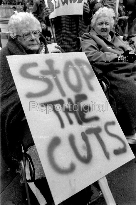 Pensioners protesting at cuts in local council expenditure. Nottingham 1993 - John Harris - 1993-10-30
