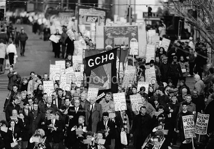 GCHQ trade unions annual march & rally for the restoration the right to organize trades unions GCHQ Cheltenham - John Harris - 1994-01-26