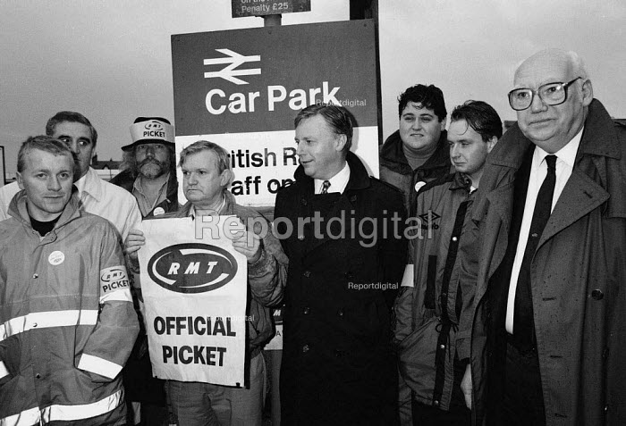 John Monks TUC and railway workers leader Jimmy Knapp join striking signal workers on a picket line during the TUC Blackpool 1994 - John Harris - 1994-09-30