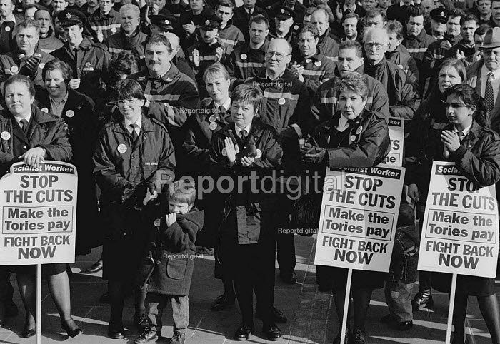 FBU members demonstrate against cuts, Derby - John Harris - 1995-02-14