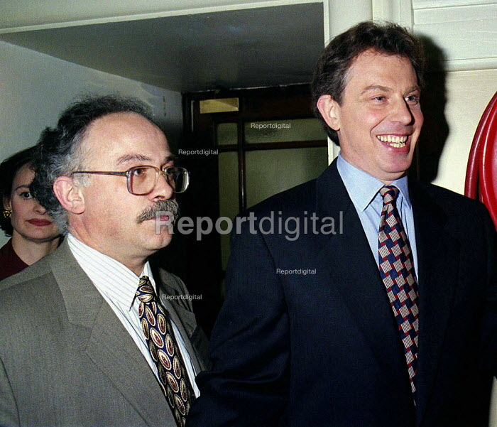 Tony Blair MP with press officer David Hill Labour Clause 4 conference 29/4/95 - John Harris - 1995-04-29