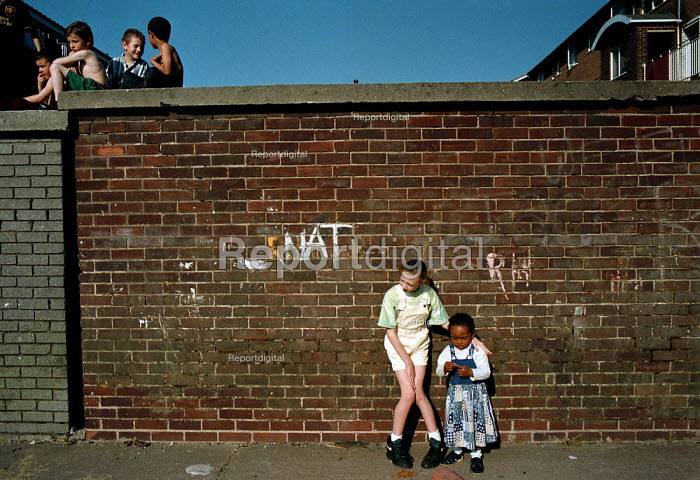 Children playing Local Authority housing estate Bute Town Cardiff South Wales - John Harris - 1995-05-04