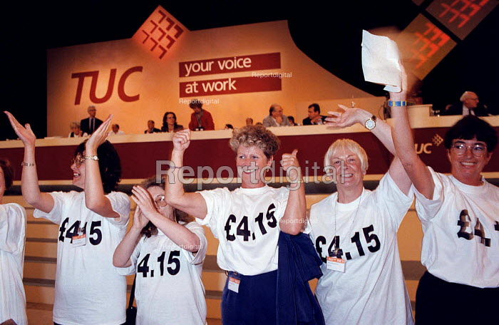 Women protesting in favour of a minimum wage of �4.15 per hour at TUC Conference 1995 - John Harris - 1995-08-30
