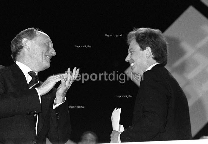 Neil Kinnock MP congratulating Tony Blair MP after speaking at TUC Conference 1995 - John Harris - 1995-09-30
