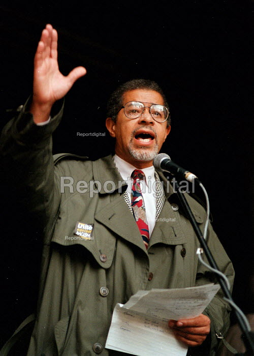 Sir Herman Ouseley Chairman Commission for Racial Equality speaking at the TUC Unite Against Racism march Manchester - John Harris - 1995-10-28