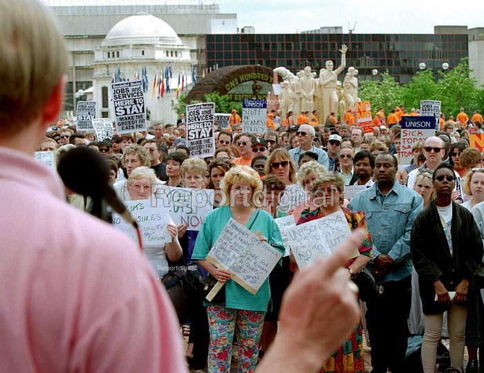 Council workers on strike against job cuts - John Harris - 1996-06-13