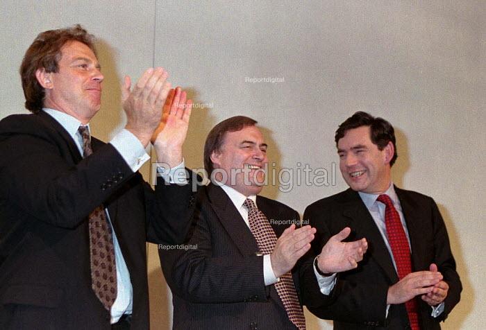 Tony Blair John Prescott applauding Gordon Brown at the end of his speech Labour Party conference 1996 - John Harris - 1996-10-01