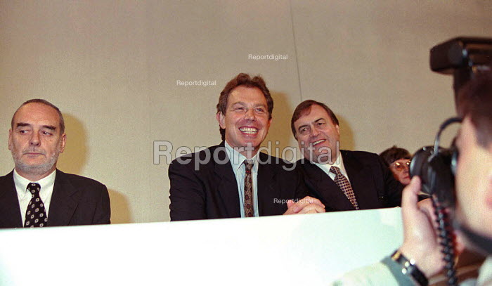Tom Sawyer Tony Blair and John Prescott being photographed at Labour Party conference 1996 - John Harris - 1996-10-01
