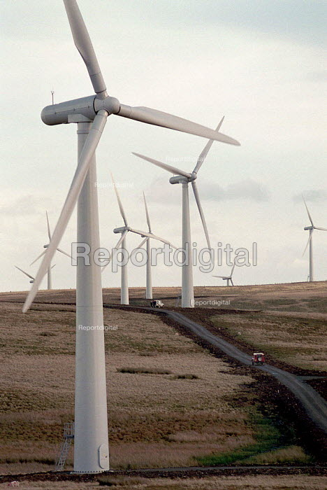 Europe's largest wind farm near Carno in Mid Wales. 56 turbines produce enough electricity to serve the average needs of 250,000 homes supplied at half the cost of local domestic power - John Harris - 1996-10-27