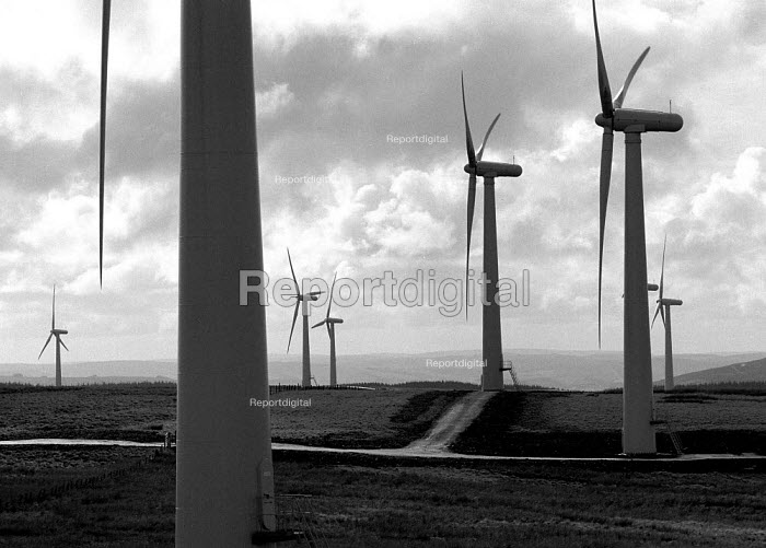 Europe's largest wind farm near Carno in Mid Wales. 56 turbines produce enough electricity to serve the average needs of 250,000 homes supplied at half the cost of local domestic power 27/10/96 - John Harris - 1996-10-27