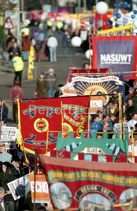 March through Cheltenham for the 13th year to protest at the ban and sacking of trade union members at GCHQ 25.1.97 - John Harris - 1997-01-25