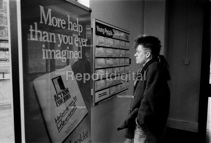 Unemployed youth looking for a job. Job Centre Sparkhill, Birmingham - John Harris - 1987-03-26
