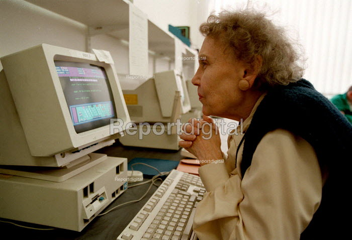 Mature student using computer in a computing suite at a Further Education College - John Harris - 1997-03-17