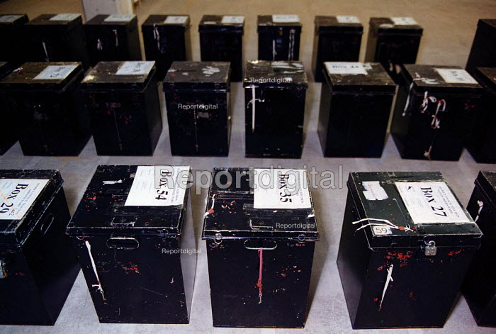 Ballot boxes ready for elections - John Harris - 1997-04-10