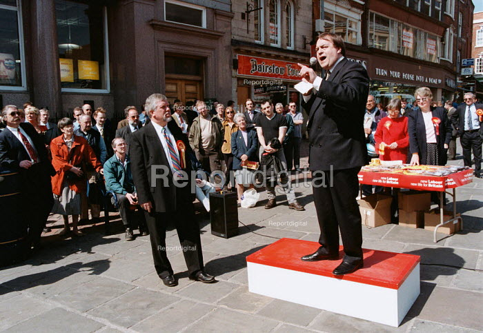 John Prescott MP speaking at Labour election rally Derby 16/4/97 - John Harris - 1997-04-16