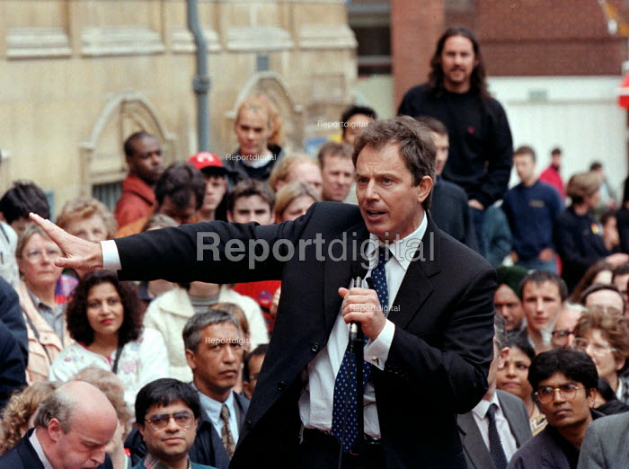 Tony Blair MP Labour speaking during last days of the election campaign Leicester - John Harris - 1997-04-28