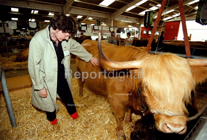 Veterinary Inspector checking cattle at the Royal Agricultural Show Stonleigh Warwickshire - John Harris - 1999-08-07