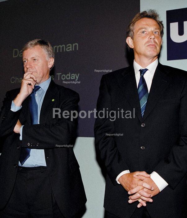 John Monks TUC & Tony Blair MP Labour PM at Unions Today TUC Conference 1999 - John Harris - 1999-09-14