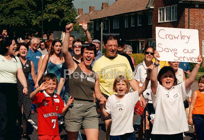 Local community protest at the proposed closure of Crawley Hospital - John Harris - 1999-09-04