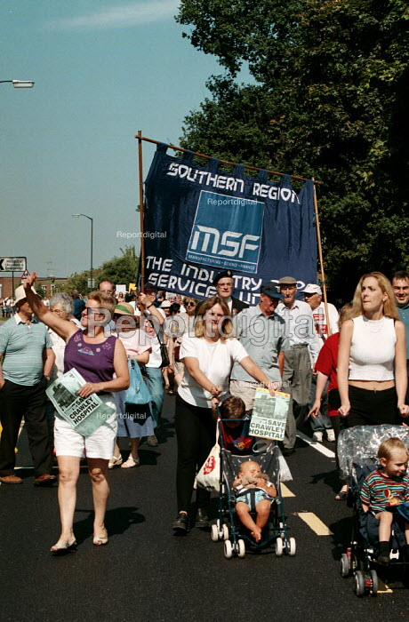 Patients, staff and local community protest at the proposed closure of Crawley Hospital - John Harris - 1999-09-04