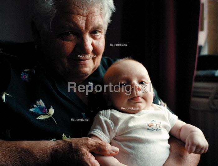 Baby boy at 10 weeks visiting his Great Aunt - John Harris - 1999-09-01