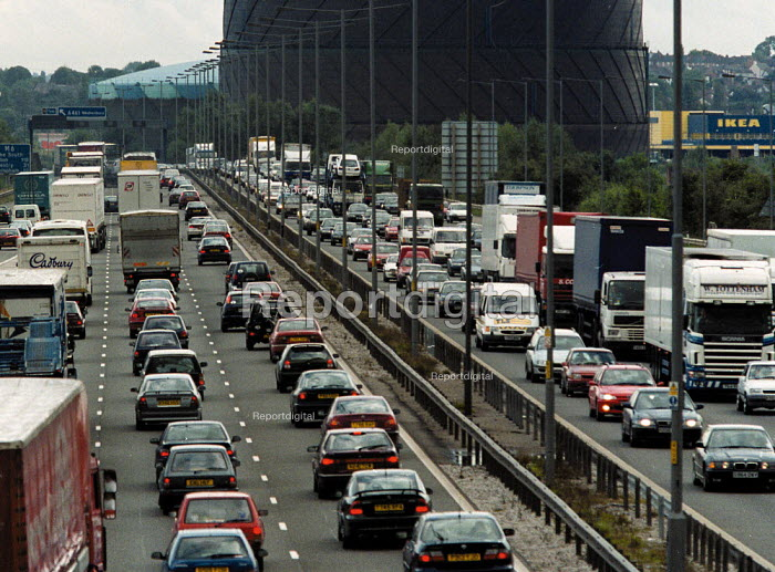 Motorway traffic congestion on a Friday afternoon on the M6 in the Midlands - John Harris - 1999-09-22