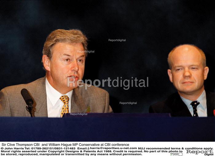 Sir Clive Thompson CBI and William Hague MP Conservative at CBI conference - John Harris - 1999-11-01